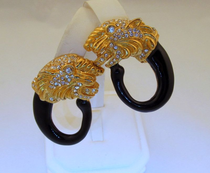Rhinestone Tiger Enamel Hoop Clip Earrings Huge Sparkly