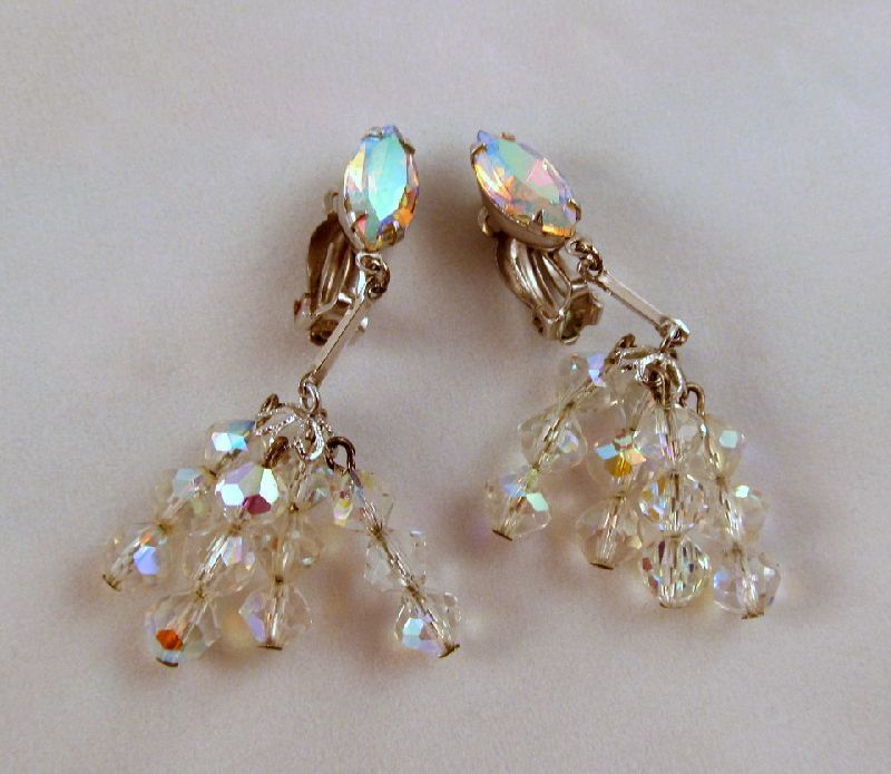 Lewis Segal Aurora Borealis Rhinestone Crystals Drop Clip Earrings