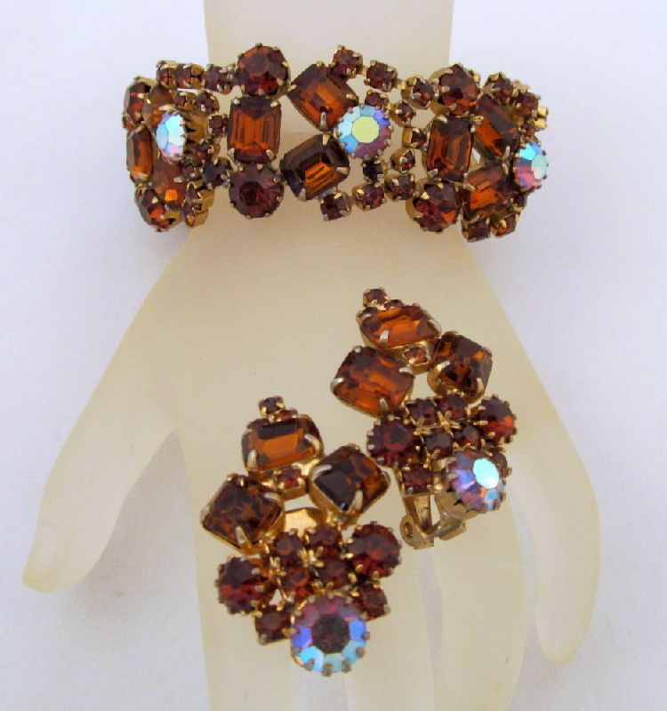 Topaz Aurora Borealis Rhinestone Bracelet Earrings Gold-tone
