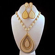 Mod Napier Cream Enamel Teardrop Earrings Necklace Book Piece