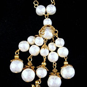 Sautoir Necklace Faux Pearls Bezel-set Crystals Gold-tone