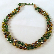 Marvella Green Brown Aurora Borealis Crystal Two Strand Necklace