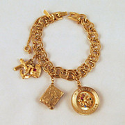 Monet 'Chanette' Charm Bracelet Mother Religious Charms