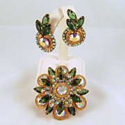 Huge D&E Juliana Green AB Brooch Earrings Gold-tone