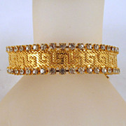Double Row Rhinestone Mesh Greek Key Bracelet Gold-tone