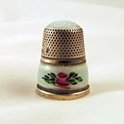 J.A. Henckels Sterling Green Guilloche Thimble Glass Top