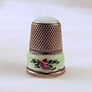 J.A. Henckels Sterling Green Guilloche Thimble Glass Top 1&quot;