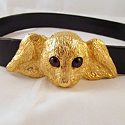 Mimi Di N Lop Bunny Head Buckle Belt Gold-tone Glass Eyes