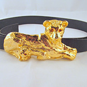 Mimi Di N Lioness with Cub Buckle Belt Gold-tone Glass Eyes