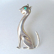 Sterling Cat Horatio de la Parra Stylized Brooch MCM