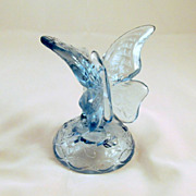 Fenton Butterfly Ring Tree Holder Light Blue 1980s