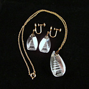 Reverse Carved Rock Crystal Pagoda Pendant Earrings Gold Filled