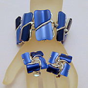 Thermoplastic Chunky Bracelet Earrings Blue Two-Tone