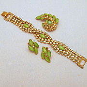 Lime Green Cat's Eye Citrine Rhinestone Bracelet Brooch Earrings