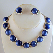Coro Blue Moonglow Lucite Necklace Earrings