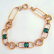 Vintage Emerald Green Paste Stones GF Bracelet Greek Key