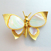 R. Mandle Articulated Butterfly Mother of Pearl Brooch