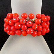 Flashy Red Glass Bead Cha-Cha Expansion Bracelet