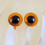 Art Glass Eyes Cufflinks Yellow Black Gold-tone