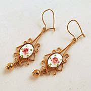 Delicate Guilloche Roses Enameled Pierced Earrings Gold-tone