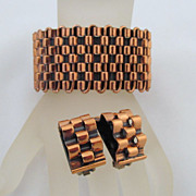 Renoir Copper Basketweave Bracelet Clip Earrings