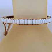 Side Open Milk Glass Baguette Bangle Bracelet Gold-tone Vintage
