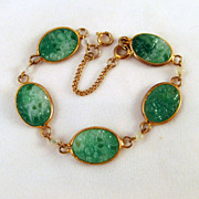 Faux Jade Molded Glass Cabochons Bracelet Gold-tone Bezel Set