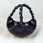 Van Briggle Original Fred Wills Basket Midnight Blue Hand Carved