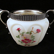 Consolidated Open Heart Arches Sugar Bowl Satin Glass
