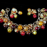 Napier Chunky Moonglow Charm Bracelet Earrings Multi-color Gold-tone