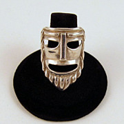 Napier Sterling Silver Mask Face Ring Adjustable