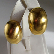 Clara Studio Gold-tone Bean Earrings Modernist Clara Kasavina Signed