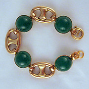 Art Deco Green Art Glass Rolled Gold Bracelet