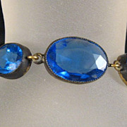 Czech Blue Crystal Faceted Stones Bracelet