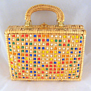 Vintage Wicker Plastic Beaded Purse