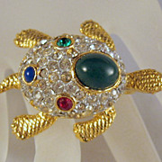 U/S Sphinx Turtle Pin Rhinestone & Art Glass Cabochons