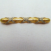 Signed Sphinx Bar Pin Gold-tone Rhinestones