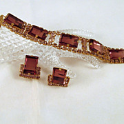 Vintage Purple Geometric Stones Bracelet & Earrings Set