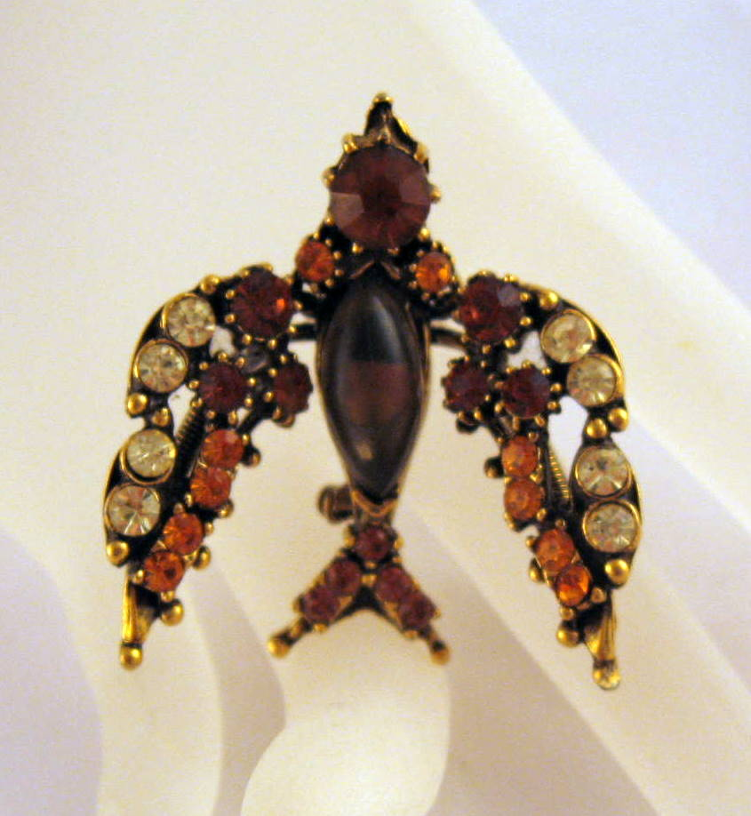 Beautiful Florenza Bird Trembler Pin Brooch Autumn Colors