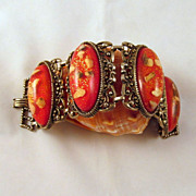 Funky Chunky Vintage Lucite Red Oval Cabs Bracelet