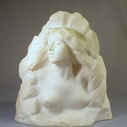 SALE Rare Art Nouveau Carved Alabaster Nude Sculpture**Signed c1900