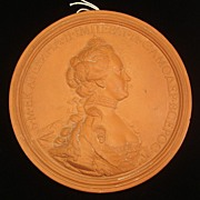 SALE Terracotta Medallion of Catherine the Great of Russia, signed J.B. Nini 1771, French (171