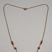 SALE Vintage 1930s Bohemian Garnet/Glass Festoon Necklace
