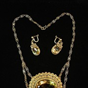 SALE Antique Victorian Citrine & Vermeil Filigree Necklace & Earring Set... Gorgeous Estate Se
