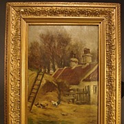 William Grant Stevenson...Antique Scottish Barnyard Scene...Listed Artist