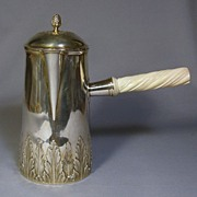 French Sterling Chocolate Pot with Carved Ivory Handle.. Gustave Keller, c1890-1900