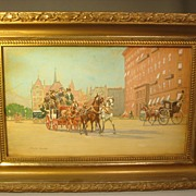 Wonderful English Street Scene Watercolor c1890 by A. Douglas Hamilton..Coaches w/Horses!