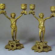 19thC French Bronze Figural Candlesticks...Classical Male Figures