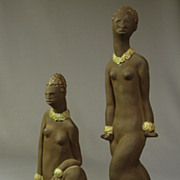 """One of a Kind"" Art Deco Pottery Sculptures of Nude Black Women w/Pigs..by Vernon P."
