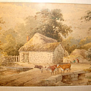 English Watercolor Landscape w/Cows & Cottage by Stephen J. Bowers c1880.. Moreton, S. Devon